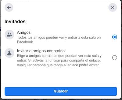 Luego puedes elegir los invitados: puede ser invitación general, para todos los contactos de Facebook o escoger entre ellos ciertos usuarios.