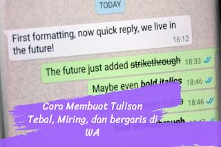 Cara Membuat Tulisan Tebal, Miring, dan Bergaris di Whatsapp