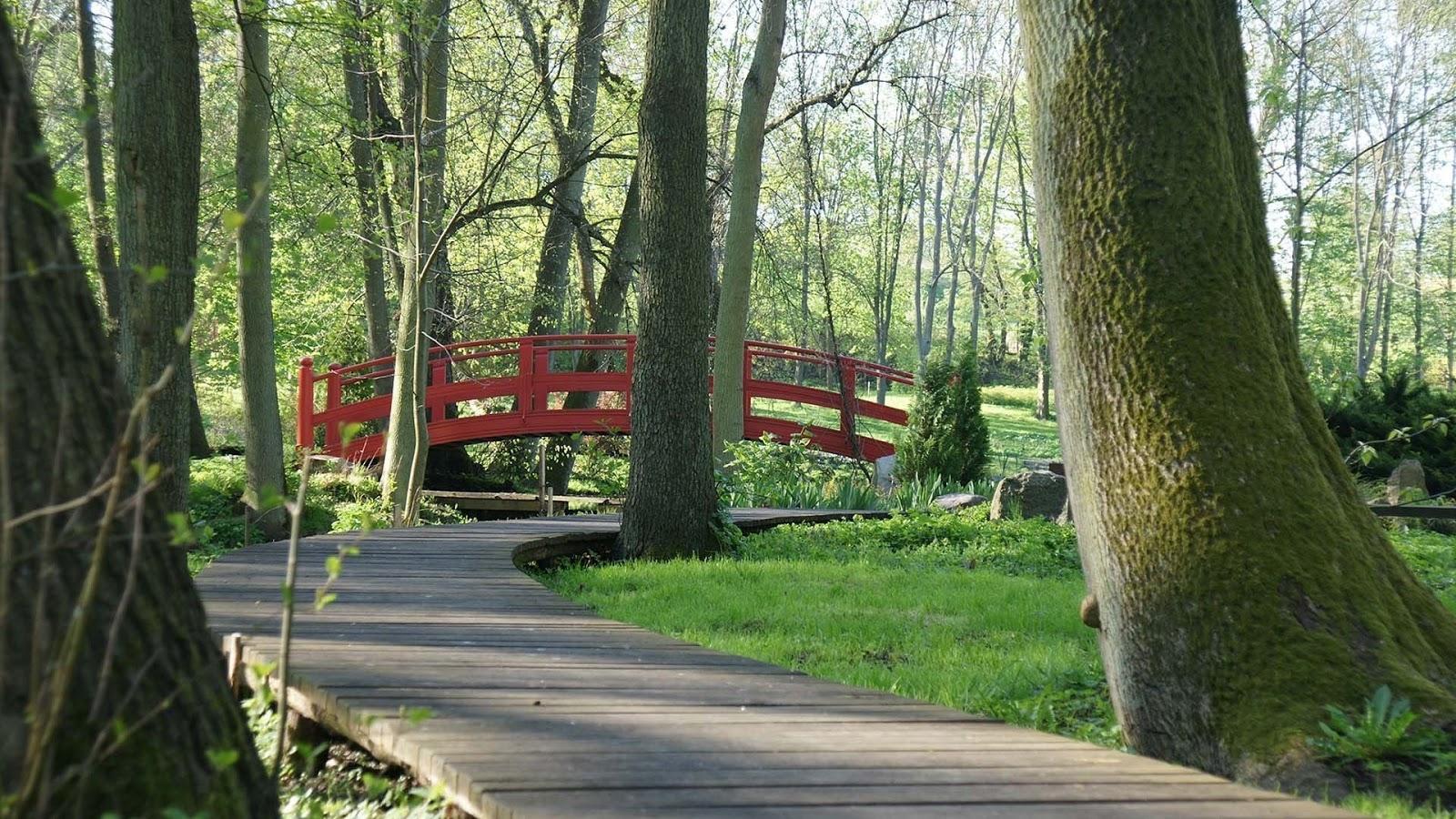 Czerwony mostek w parku przy Pałacu Mierzęcin