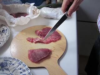 tuna on a chopping board