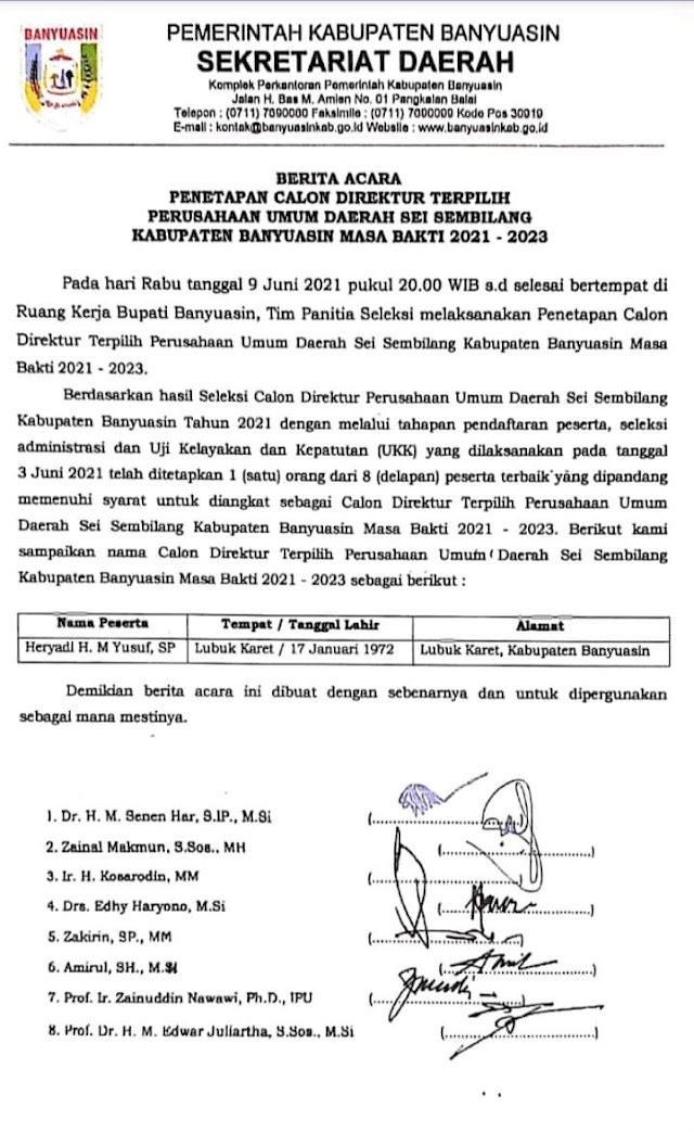 Heryadi H. M Yusuf, SP Ditetapkan Sebagai Direktur Sei Sembilang periode 2021-2023