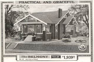 1918 black and white catalog image of the Sears Belmont, a bungalow with cross gables