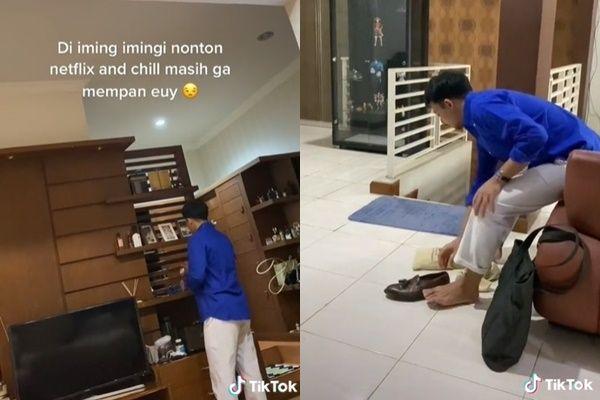 Istri Keluarkan Jurus 'Hot Jeletot' Bikin Suami Ngos-ngosan Tak Jadi Ngantor. (TikTok)