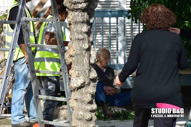 Ηλικιωμένος παραλίγο να σκοτωθεί όταν έπεσε από ύψος στην πόλη του Ναυπλίου (βίντεο)