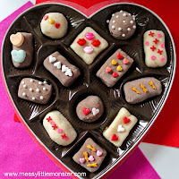 playdough chocolates - Valentines day craft for kids.