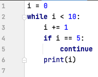 continue statement in while loop - Python