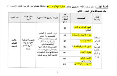 عاجل مباراة توظيف (43) محافظا قضائيا من الدرجة الثانية في عدة تخصصات