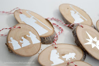wood slice nativity ornaments