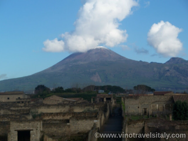Viewing Mt. Vesuvius from Pompeii