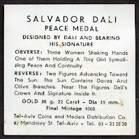 Salvador Dali Auction Results Watch: Peace Medal / Medallion