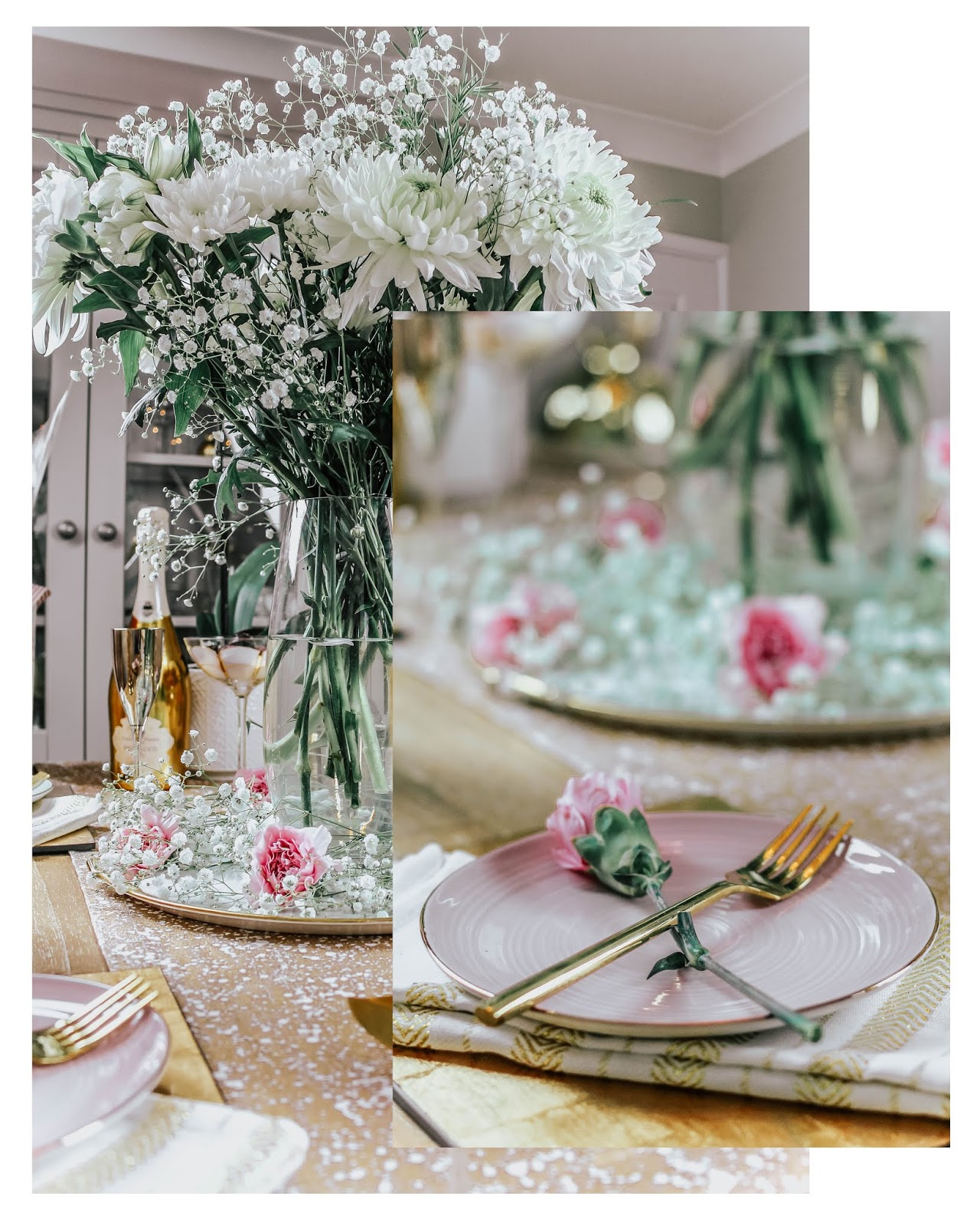 Romantic Feminine Dinner Table Finishing Touches