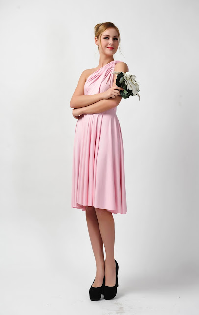 CONVERTIBLE PINK BRIDESMAID DRESS