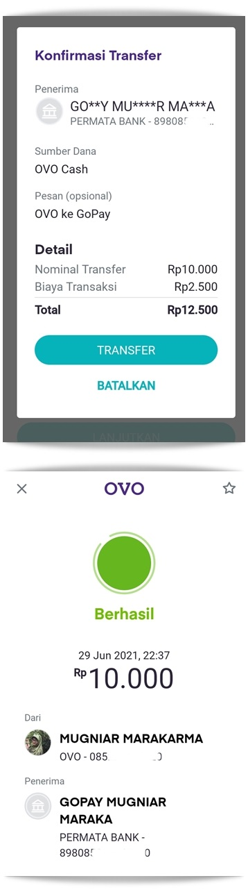 Transfer OVO ke GoPay