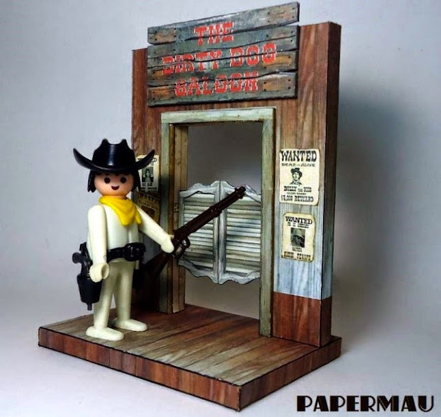 PAPERMAU: The Dirty Dog Saloon Vignette Paper Model For