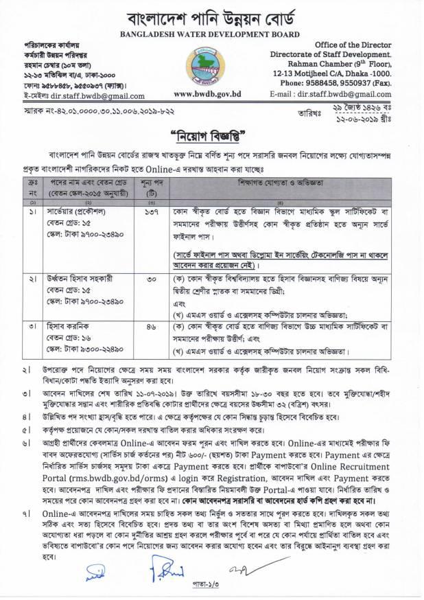 Bangladesh Water Development Board published a job circular 2019