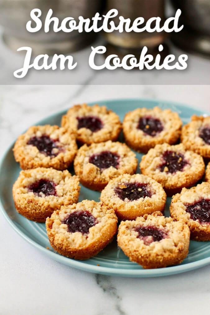 Shortbread Jam Cookies with a Streusel Topping