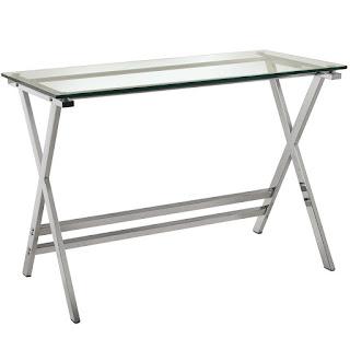 mesa escritorio cristal y acero moderna