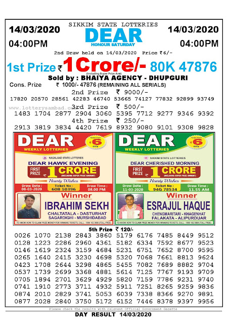 Sikkim State Lotteries 14-03-2020 Lottery Sambad Result 04:00 PM