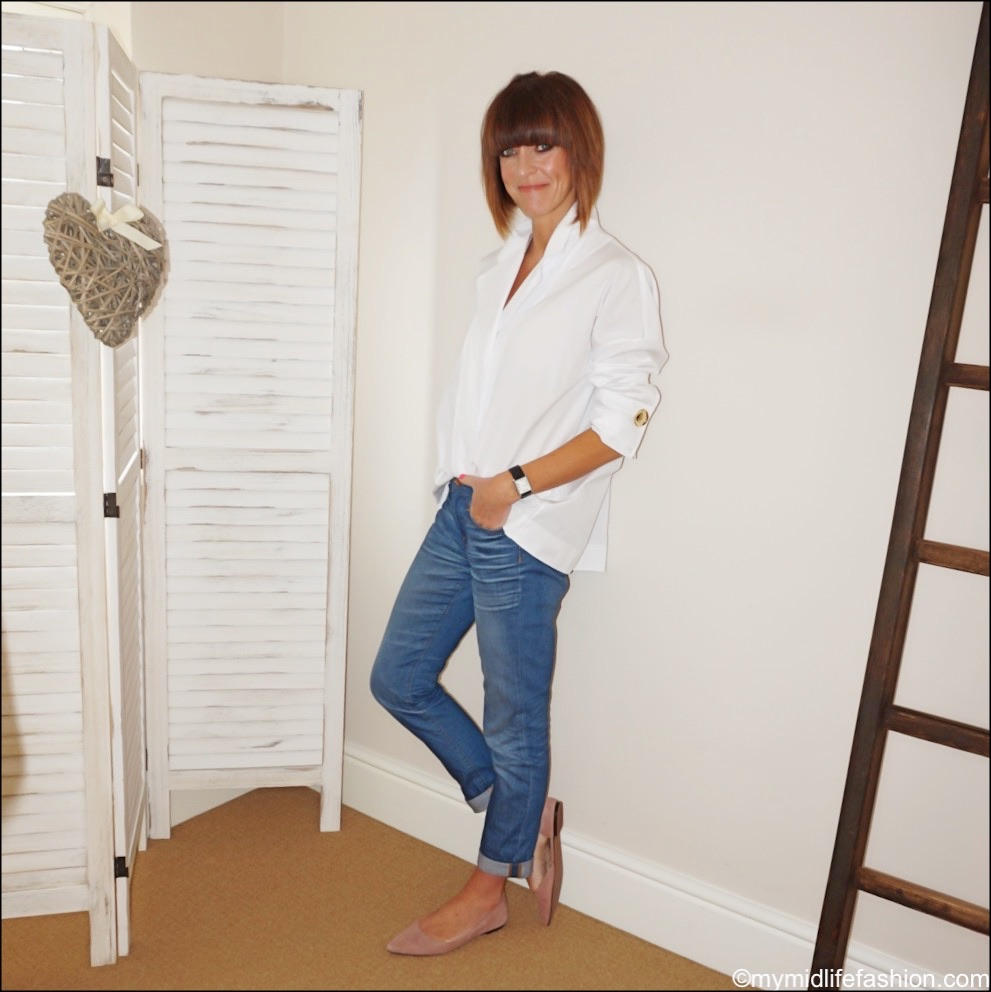my midlife fashion, uterque double lapel shirt, H&M pointed ballet pumps, j crew boyfriend jeans