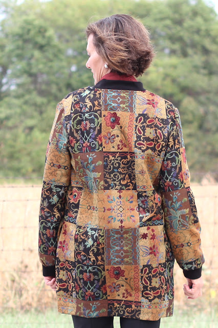 Style Maker Fabrics' Fall 2017 Style Tour - Patchwork Jacquard made into Vogue 9275 - back view