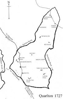 Quarlton Farms marked on William Wright's Map of 1727.