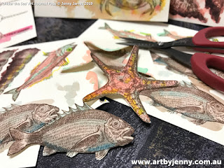 progress pic of under the sea stamped mixed media artwork created by Jenny J