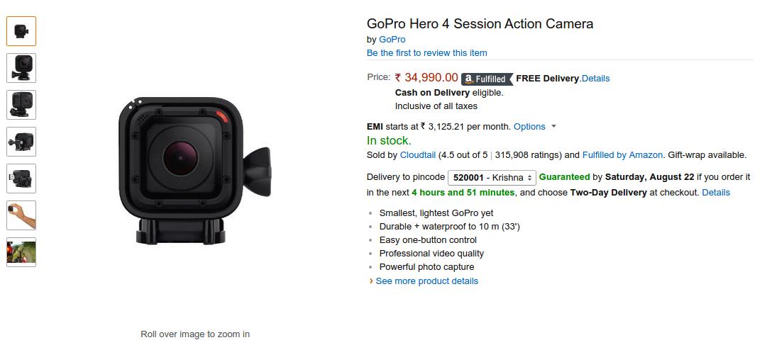 Buy GoPro Hero 4 Session In India On Amazonin