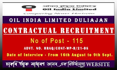OIL India Ltd Recruitment 2021(115 Vacancy)