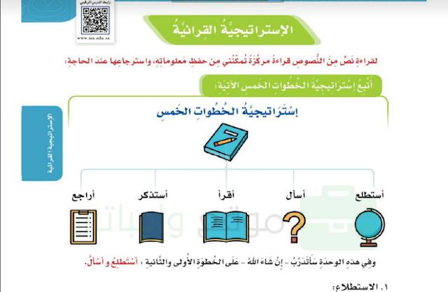 حل درس استراتجية الخطوات الخمس لغتي للصف الخامس ابتدائي