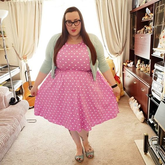Lindy Bop Pink Polka Dot Dress