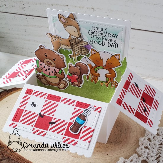 It's a Good Day Fold Out Box Card by Amanda Wilcox | Woodland Picnic Stamp Set, Clouds Stencil, Gingham Stencil and Land Borders Die Set by Newton's Nook Designs #newtonsnook #handmade