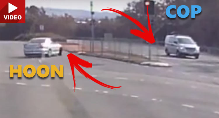 Unlicensed, Uninsured, And Unregistered Hoon Unknowingly Drifts In Front Of Cops