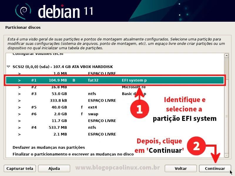 Identifique e selecione a partição 'EFI system p'