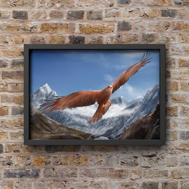 Soaring hunter, eagle art, landscape art, Himalayan Art, Mark Taylor,