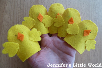 Five little ducks finger puppets for children