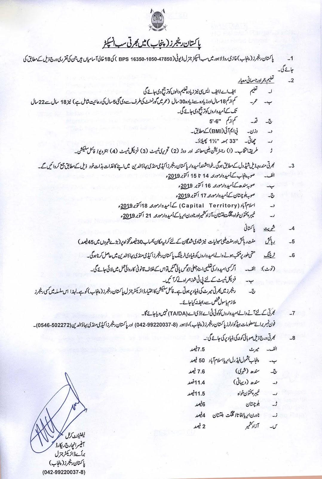 Jobs in Ranger Punjab , Punjab Ranger Jobs , Sub inspector Ranger Jobs