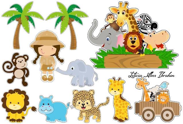 Baby Safari for Girls: Free Printable Cake Toppers.
