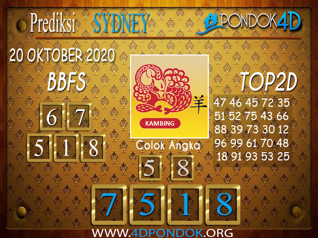 Prediksi Togel SYDNEY PONDOK4D 20 OKTOBER 2020
