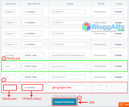 Setting Subdomain untuk Blogger