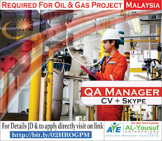 QA Manager Oil & Gas Project in Malaysia