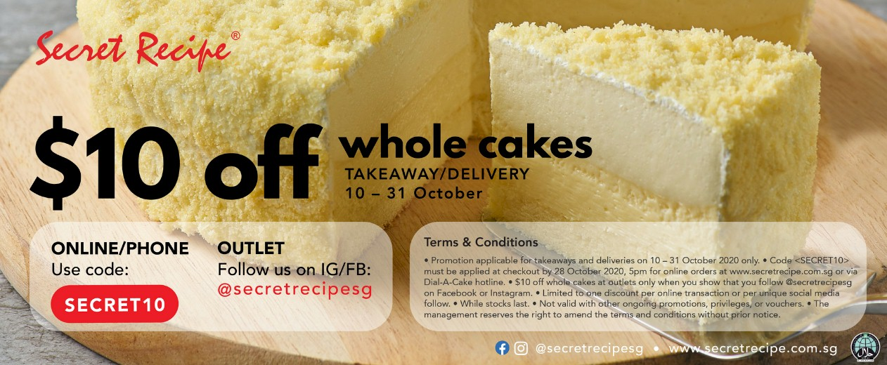 All Singapore Deals Secret Recipe Offering 10 Off On Whole Cakes For Delivery Or Takeaway