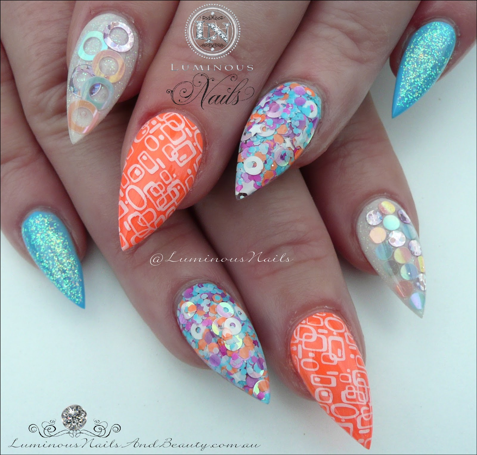 Luminous Nails Retro Inspired Acrylic Nails