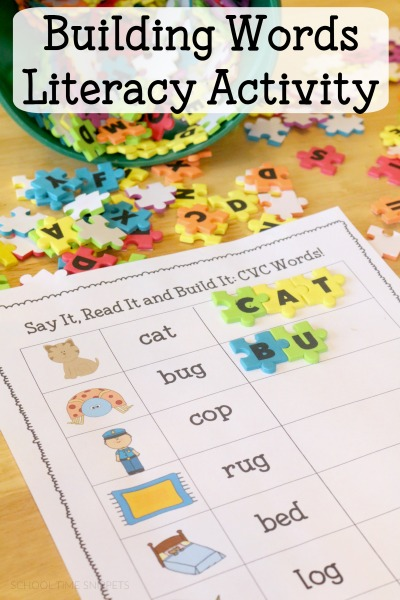building CVC words literacy printable for readers