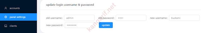mengganti username dan password login panel v2ray