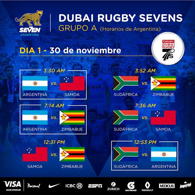 Fixture de Los Pumas 7s en Dubai Rugby Sevens @Dubai7s
