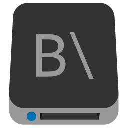 Preview of drive Letter B, Local drive, drive icon, hard disk.