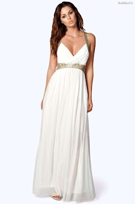 Vestidos blanco con dorado