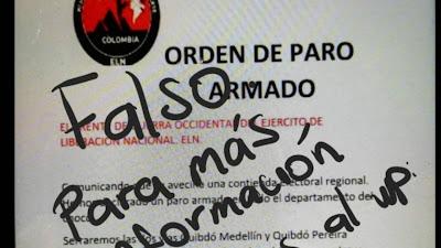 ELN desmintió panfleto de presunto paro armado entre Risaralda y Chocó