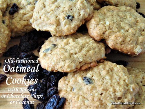 Old-fashioned Oatmeal Cookies with Raisins or Chocolate Chips or Coconut