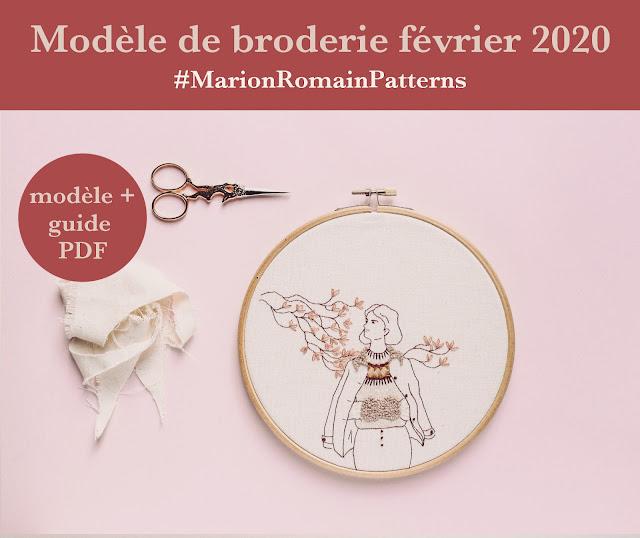 Modèle de broderie février 2020 #MarionRomainPatterns
